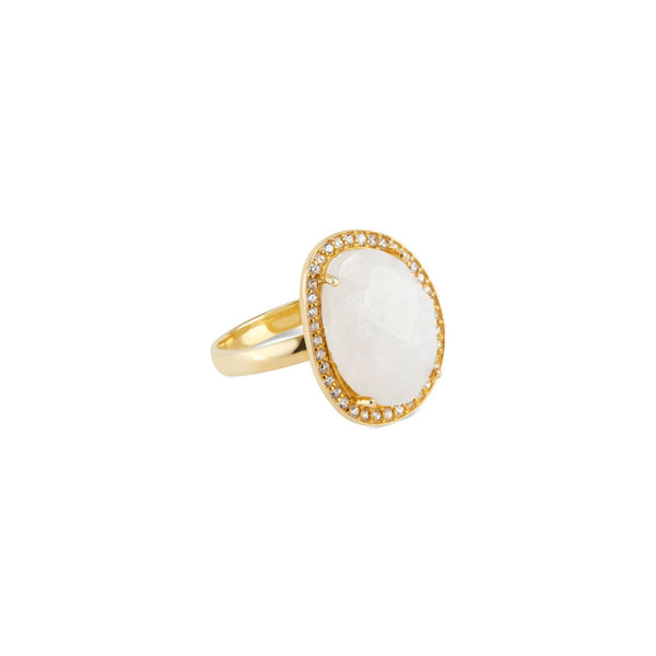 Cosmo Gold Pave Ring | Rainbow Moonstone - elliparr
