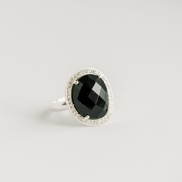 Cosmo Silver Pave Ring | Black Onyx - elliparr