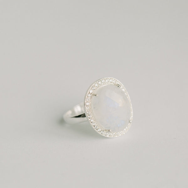 Cosmo Silver Pave Ring | Rainbow Moonstone - elliparr