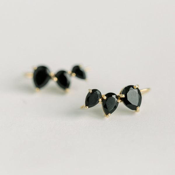 Crawler Earrings | Black Onyx - elliparr