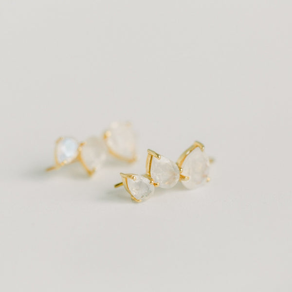CRAWLER EARRINGS | RAINBOW MOONSTONE - elliparr