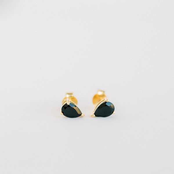 Deco Mini Teardrop Studs | Black Onyx - elliparr