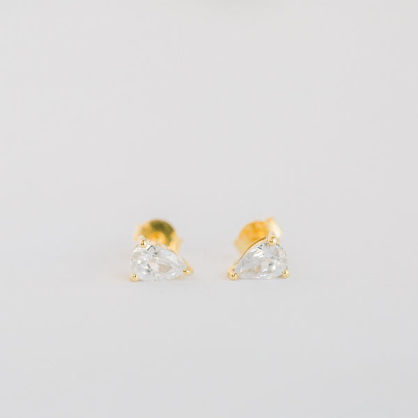 Deco Mini Teardrop Studs | CZ - elliparr