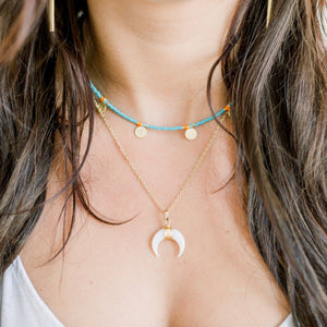 Dylan Beaded Coin Choker | Turquoise - elliparr