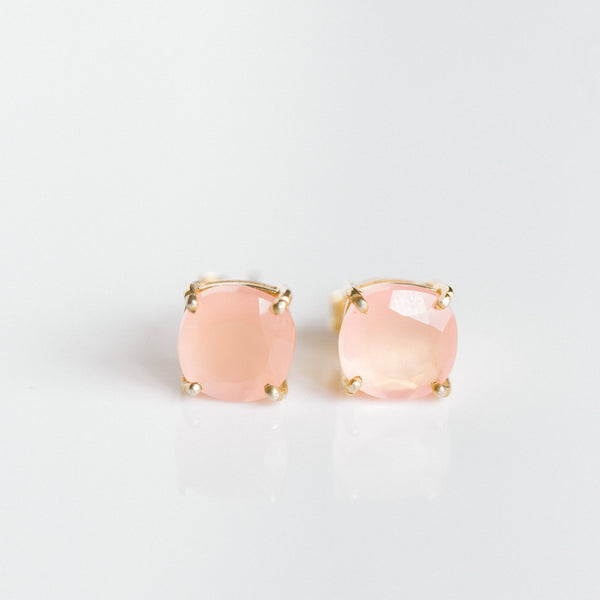 Emmy Studs | Pink Chalcedony - elliparr