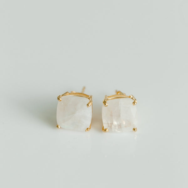 Emmy Studs | Rainbow Moonstone - elliparr