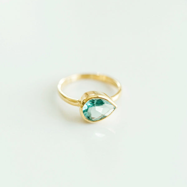 Flora Gold Ring | Aquamarine - elliparr