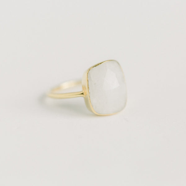 Hannah Freeform Ring | Rainbow Moonstone - elliparr