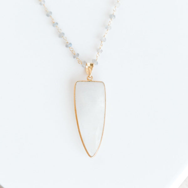 Isabelle Spike Necklace | Rainbow Moonstone - elliparr
