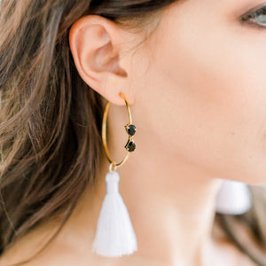 Laurel Tassel Earrings | Black Onyx & White - elliparr