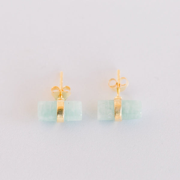 Layne Pillar Studs | Amazonite - elliparr