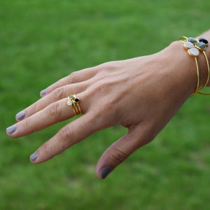 Leona Gold Stacking Ring | Labradorite - elliparr