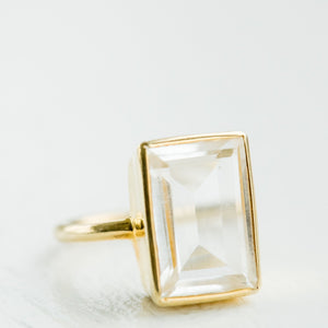 Luna Gold Ring | Crystal Quartz - elliparr