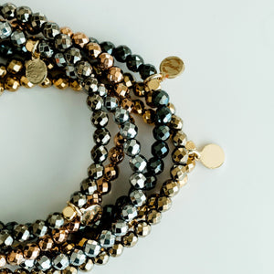 Mini Beaded Bracelet | Metallic - elliparr