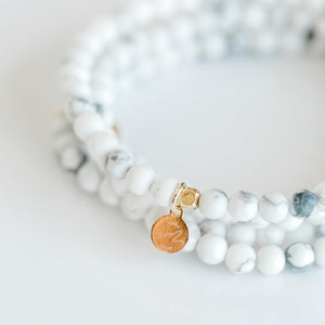Mini Beaded Bracelet | White Howlite - elliparr
