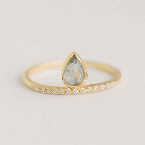 Molly Pave Floating Ring Labradorite | Gold - elliparr