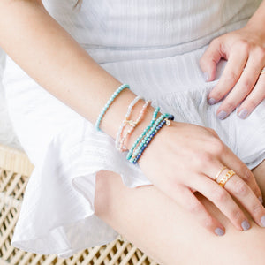 Posh Mini Beaded Bracelet | Aquamarine - elliparr