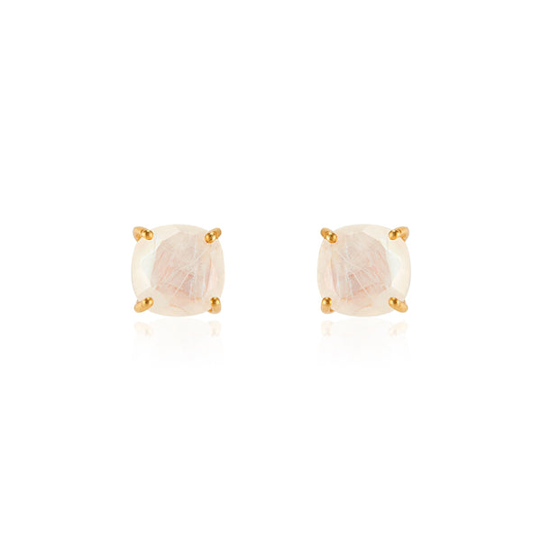 Emmy Studs | Rainbow Moonstone
