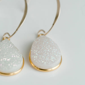 Riviera White Druzy Earrings - elliparr