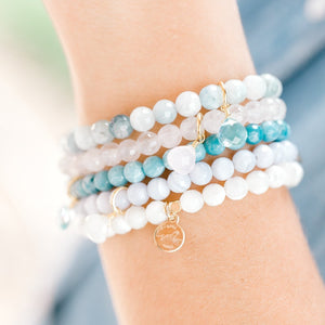 Royal Gemstone Beaded Bracelet | Aquamarine - elliparr