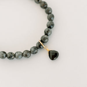 Royal Gemstone Beaded Bracelet | Black Labradorite - elliparr