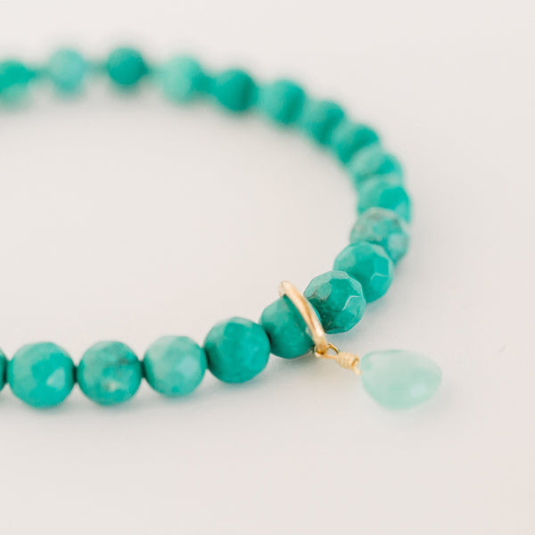 Royal Gemstone Beaded Bracelet | Green Turquoise - elliparr