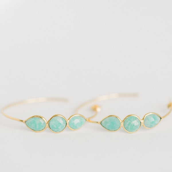 Sierra Gemstone Hoops | Amazonite - elliparr