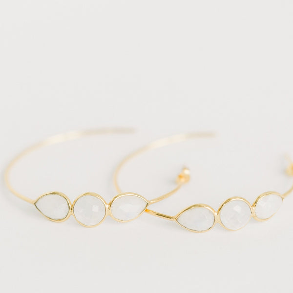 Sierra Gemstone Hoops | Rainbow Moonstone - elliparr