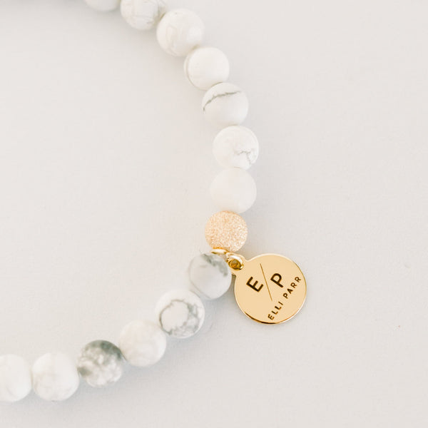 Signature Beaded Bracelet | White Howlite - elliparr