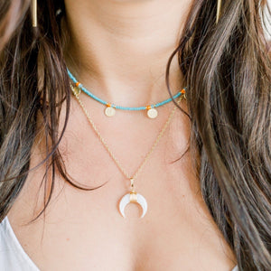 Stella Moon Necklace | White Shell - elliparr