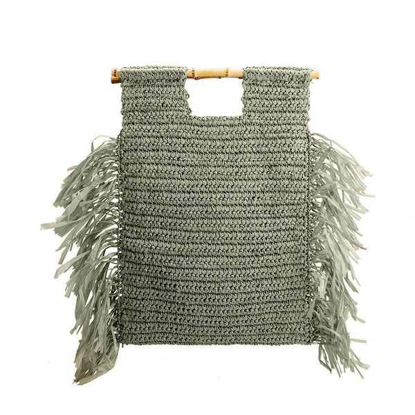 Straw Bamboo Tote Bag - Green - elliparr
