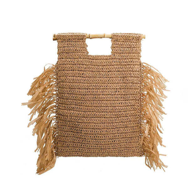 Straw Bamboo Tote Bag - Natural - elliparr