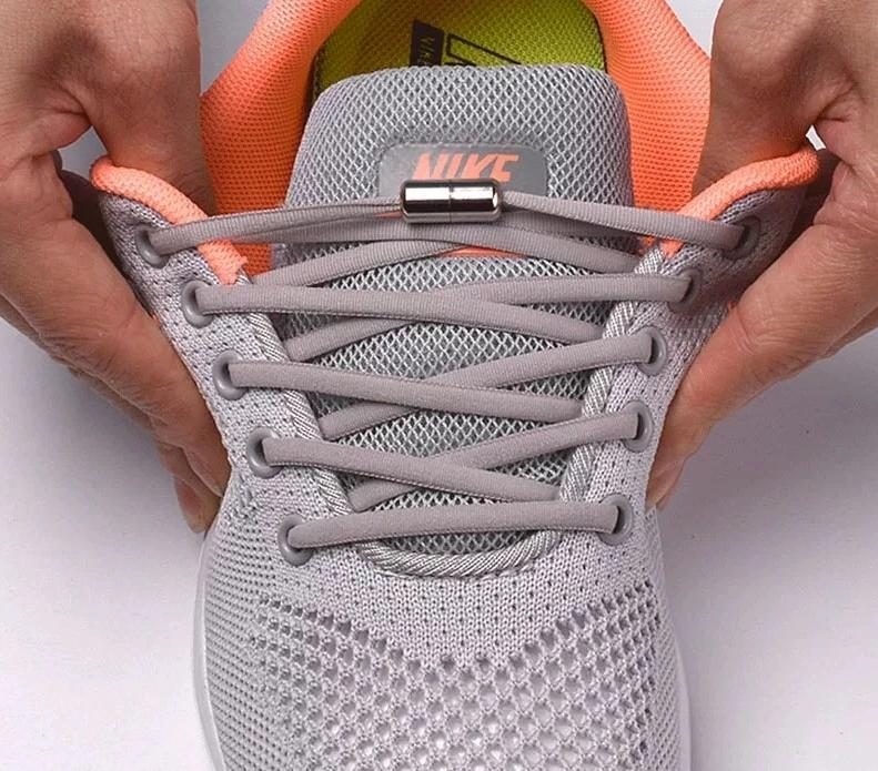 No tie shoelaces for kids adults and runners - installed on adult sneakers showing stretchyness