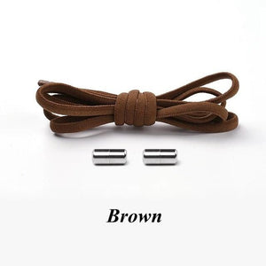 No tie shoelaces for kids adults and runners Brown