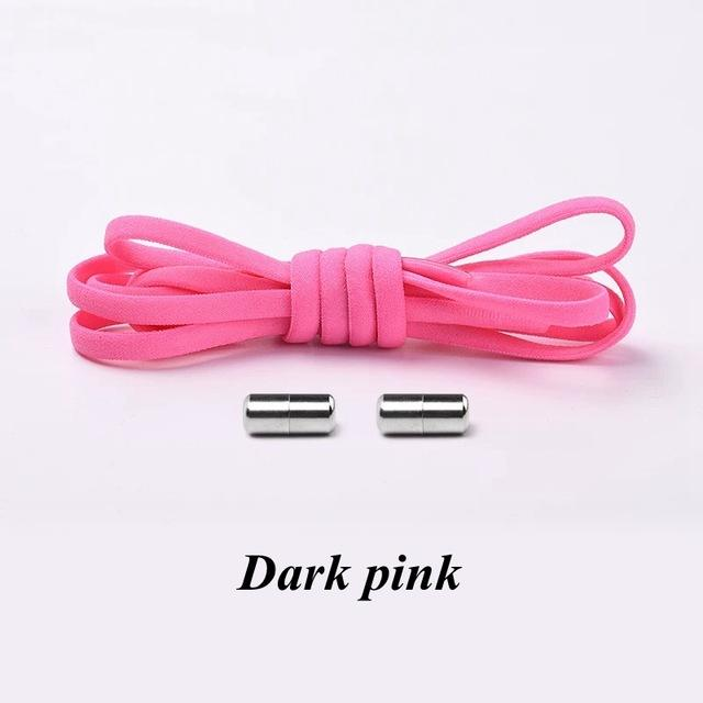 No tie shoelaces for kids adults and runners Dark pink