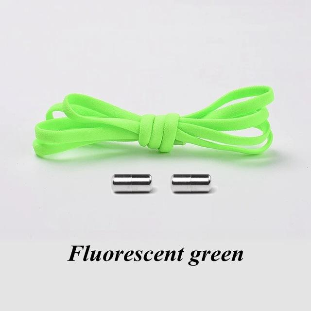 No tie shoelaces for kids adults and runners Fluorescent green