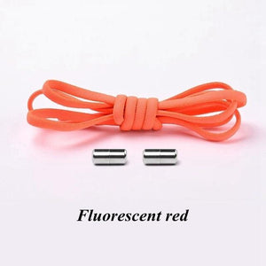 No tie shoelaces for kids adults and runners Fluorescent red