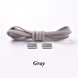 No tie shoelaces for kids adults and runners Gray