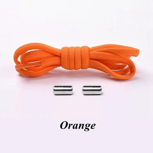 No tie shoelaces for kids adults and runners Orange
