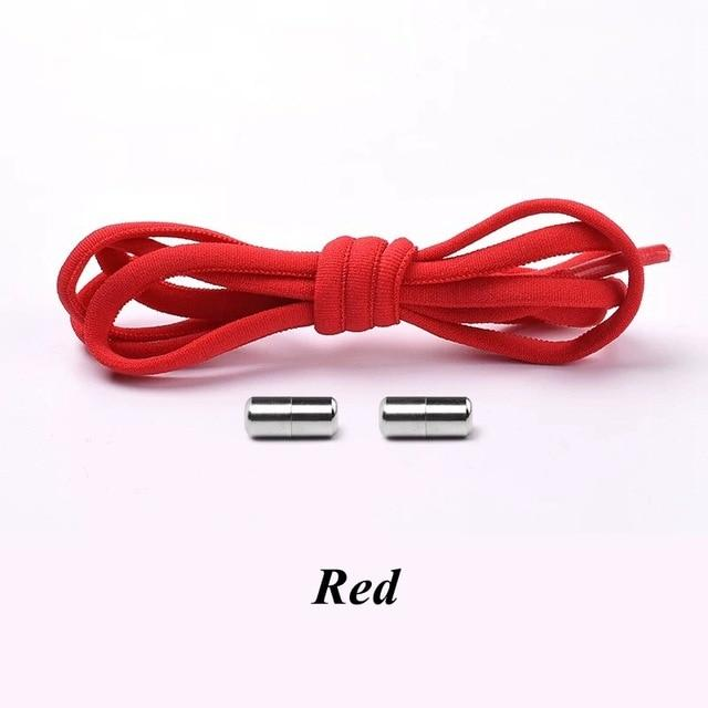 No tie shoelaces for kids adults and runners Red