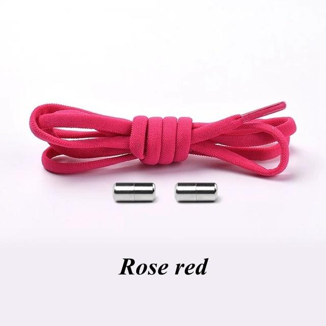 No tie shoelaces for kids adults and runners Rose red