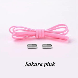 No tie shoelaces for kids adults and runners Sakura Pink