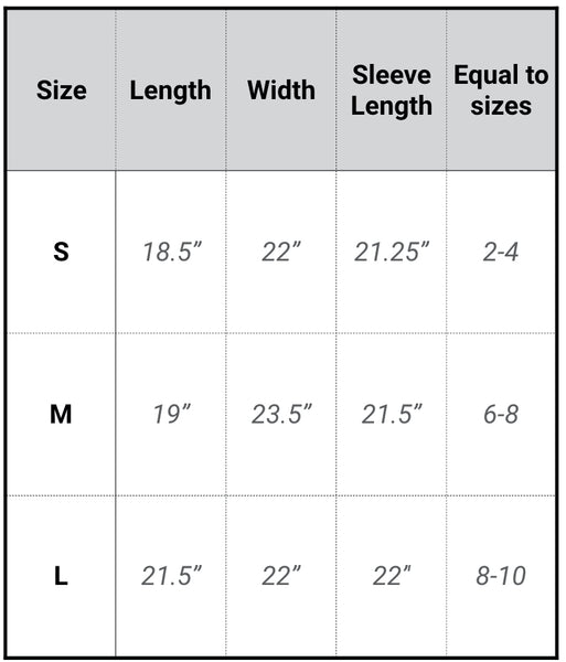 cropped hoodie sizing chart