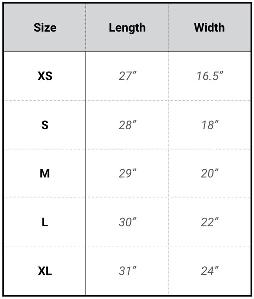 mens fit t-shirt sizing table