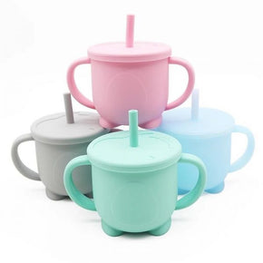 Silicone Sippy Cup with lid and easy-grasp handles 150ml