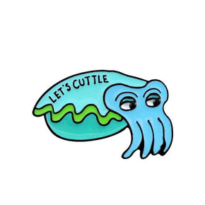 """Let's Cuttle"" Green Cuttlefish Enamel Pin / Brooch"
