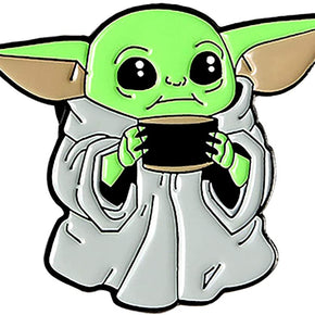 Baby Yoda with Coffee Enamel Pin / Brooch