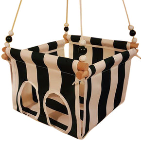 Black & White Striped Toddler Canvas Swing