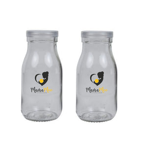 Mini Milk / Glass Bottles (Set of 2)