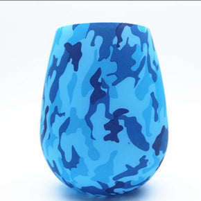Silicone Wineglass: Blue Camo